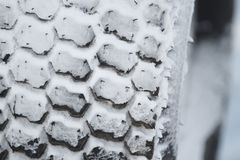 New winter car tire in snow Stock Images