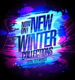 New winter collections banner, sale autumn collections stock illustration