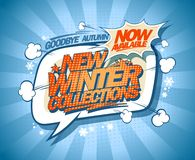 New winter collections now on, speech bubble banner vector illustration