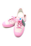 New woman pink sneaker with tag Stock Images