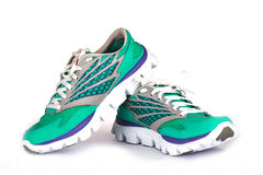 New Woman Sport Shoes. On white Stock Photography