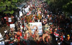 New 7 wonder. Hundreds of people promoting Solo as new 7 wonder city in solo, central java, indonesia Stock Photos