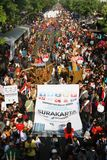 New 7 wonder. Hundreds of people promoting Solo as new 7 wonder city in solo, central java, indonesia Royalty Free Stock Images