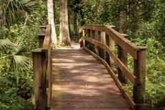 New wood bridge park trail stock images