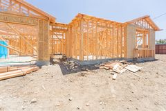 Wood Home Framing Abstract At Construction Site. Stock Photos