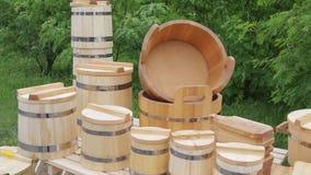 New wood - tub,bucket,mug and utensils stock video footage