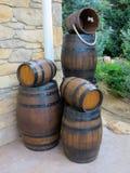 New wooden barrels stock image