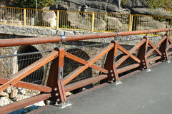 New wooden barrier on bridge Royalty Free Stock Image
