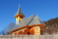 New wooden church against blue sky Stock Images
