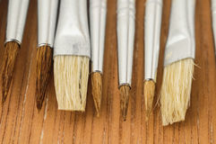 New Wooden Different Paintbrush Texture Stock Photo