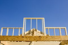 New wooden frame construction Royalty Free Stock Image
