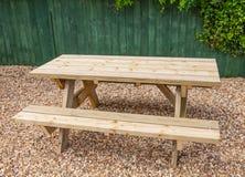 New wooden garden picnic bench Stock Photos