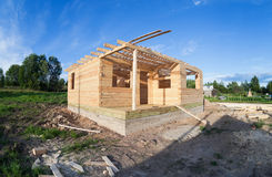 New wooden house. Royalty Free Stock Photo