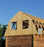 New wooden house construction Royalty Free Stock Images