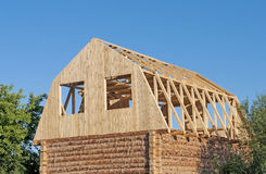 New wooden house construction Royalty Free Stock Photography