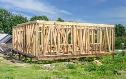 New wooden house post and beam construction. Wooden framing of the new residential house Stock Images