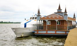 New wooden landing stage on Volga river Stock Image