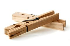 New wooden old clothes pin Stock Image