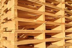 New wooden pallets is stack in the warehouse of cargo delivery e Stock Photos