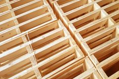 New wooden pallets is stack in the warehouse of cargo delivery e Stock Photography