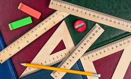 New wooden rulers royalty free stock image