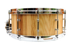 New wooden snare drum isolated Royalty Free Stock Photography