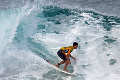 New World Champion. Event: Billabong Pipe Masters, Van's Triple Crown of Surfing 19.XII.14 Location: Banzai Pipeline, off Ehukai Beach, North Shore, island of O' stock photos