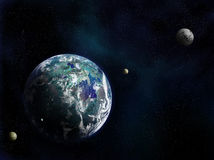 New World and Moons. Earth-like Exoplanet with orbiting moons Royalty Free Stock Photos