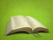 New world open bible. Photo of open bible set against a lime green canvas parchment material background ideal for text etc Stock Photography