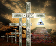 New world order money religion. Concept and sign of illuminati Royalty Free Stock Photos