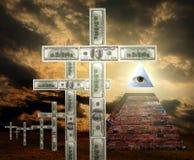New world order money religion. Concept and sign of illuminati vector illustration