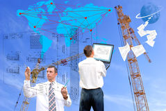 New world technology. Projection -initial preparatory stage in construction new building Stock Images