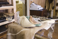 New Wrapped Footwear At Shoemaker Workshop Royalty Free Stock Photo