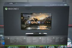 New Xbox One X console box. London, november 11, 2017: New Xbox One X console box Stock Image