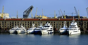 New Yachts in Genoa Stock Photography