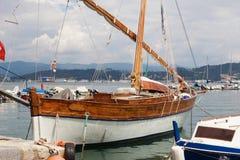 New yaht in retro style. Of adriatic shipyards Royalty Free Stock Photos