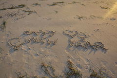 Happy new year. New Year written on/in the beach Stock Images