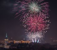 New Year's Eve fireworks in Bielsko-Biala, Poland. New Year's Eve Fireworks in Bielsko-Biala in Poland stock photography