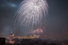 New Year's Eve fireworks in Bielsko-Biala, Poland. New Year's Eve Fireworks in Bielsko-Biala in Poland royalty free stock photography