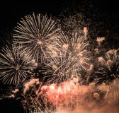 A New Year's Eve Spectacular Fireworks royalty free stock photography