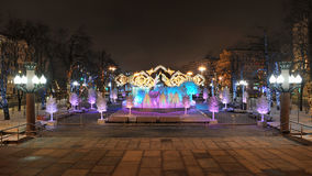 New Year's Fairy Tale Forest in Pushkinskaya Square - Night Moscow. MOSCOW, RUSSIA: Overview Pushkinskaya Square from a concert hall Rossiya Russia with royalty free stock photos
