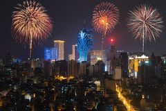 New Year's fireworks at Macau Macao, China. Skyscraper hotel royalty free stock photo