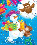 New Year 02. New Year. Christmas. Snowball with gifts for a holiday Stock Photos