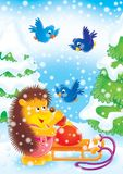 New Year 04. New Year. Christmas. Hedgehog  and bird in a New Year's wood Royalty Free Stock Photo