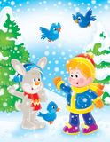 New Year 05. New Year. Christmas. The boy and rabbit Stock Photo