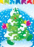 New Year 10. Illustration for children.  New Year. Christmas. fur-tree Royalty Free Stock Images