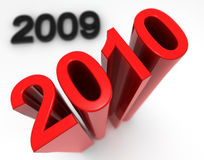 New Year. A red new year and the old 2009 Royalty Free Stock Images