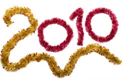 New year. Number 2010 from a tinsel on a white background Stock Photos