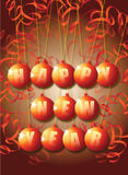 New Year. A New Year themed image on a portrait format with Happy New year set in a set of orange baubles with paper decorations surrounding Royalty Free Stock Image