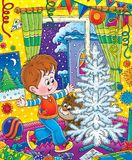 New Year 12. Illustration for children.  New Year. Christmas. On the eve of a holiday Stock Photos